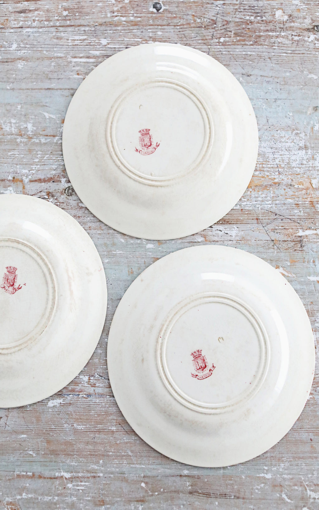 Set of Five Vintage French Red Transfer Plate Set