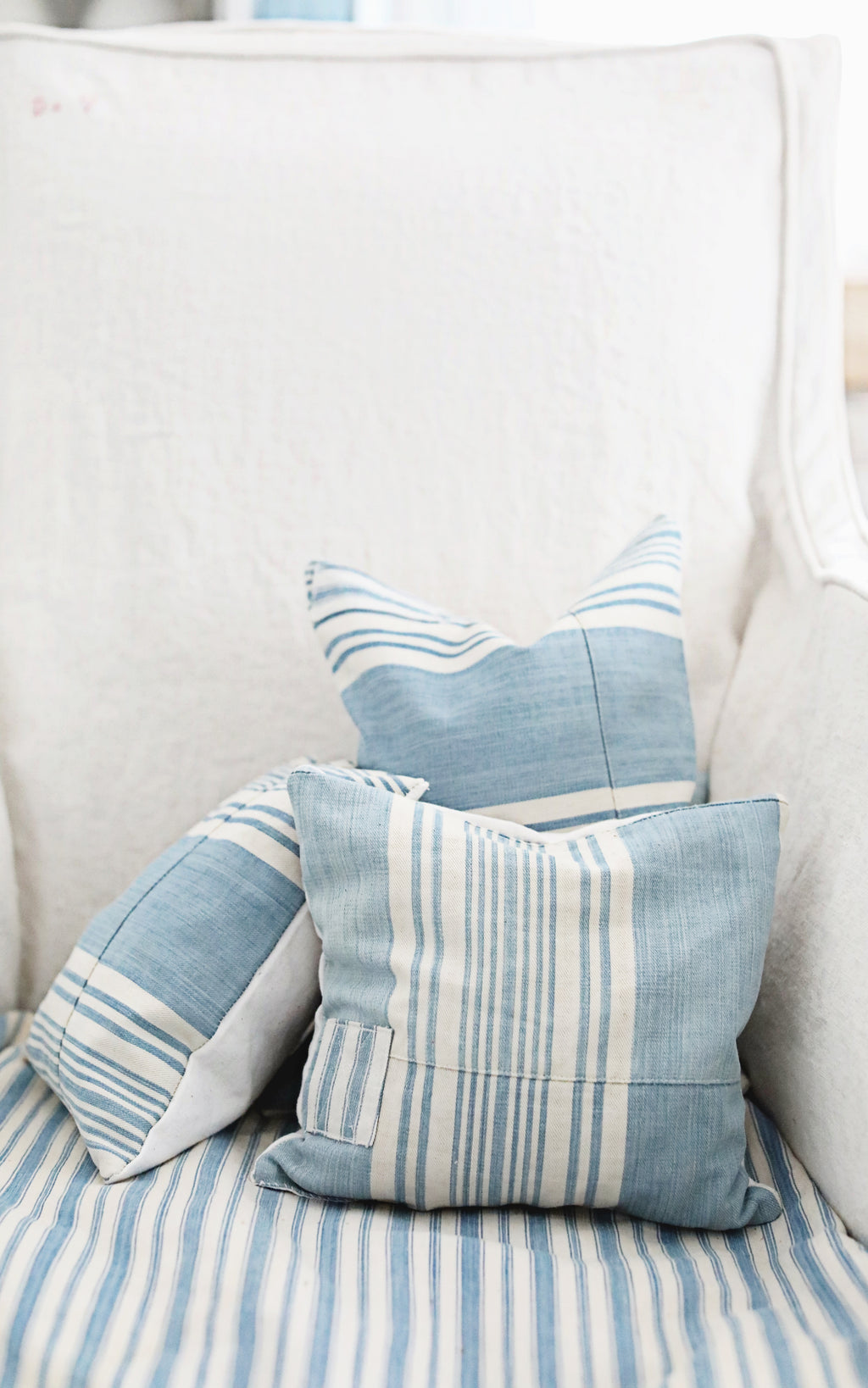 Vintage French Ticking Patchwork Lavender Pillow
