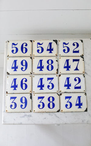 Vintage French Enamelware House Numbers
