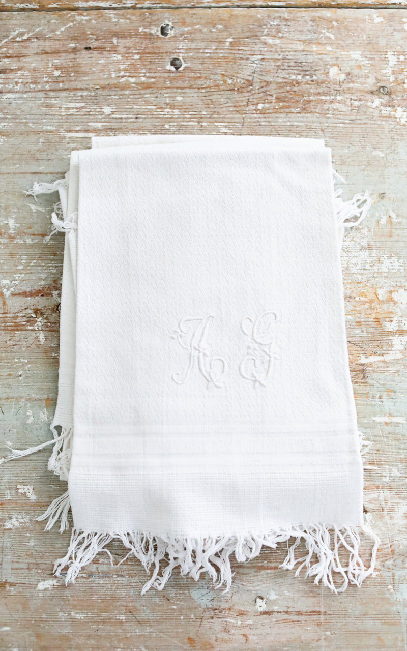 Vintage French AG Monogrammed Towel