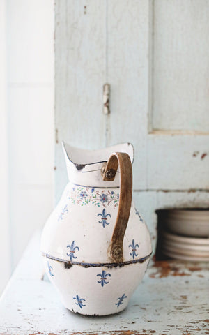 Vintage French Enamelware Pitcher