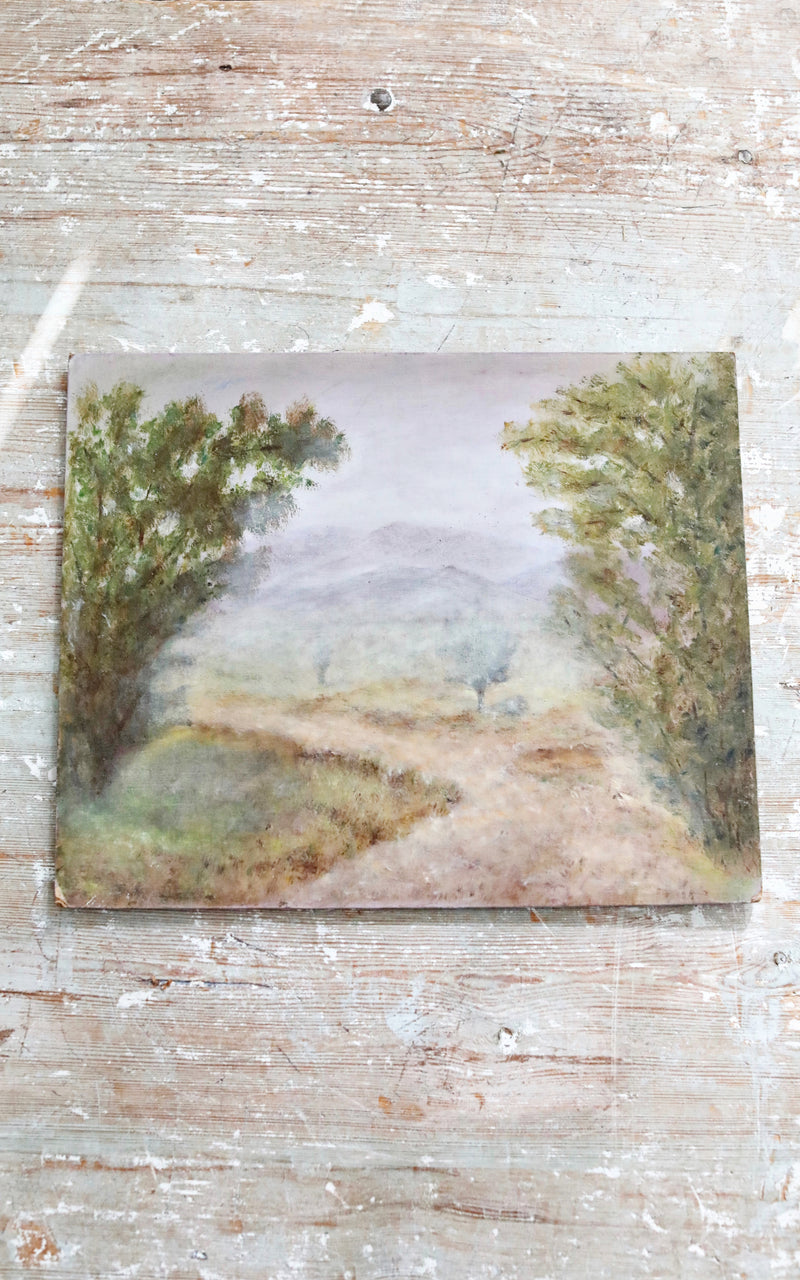 Vintage French Country Road Oil Painting
