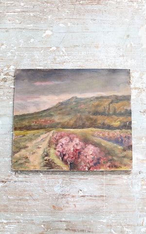 Vintage French Lavender Field Oil Painting