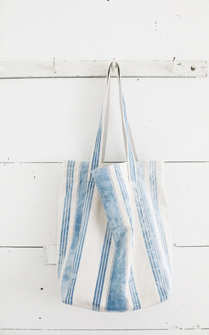 Vintage French Ticking Tote
