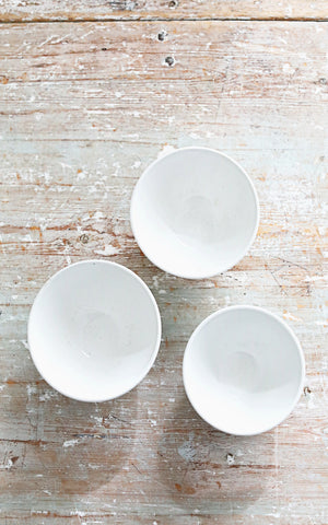 Set of Three Vintage French Stoneware Cafe Au Lait Bowls