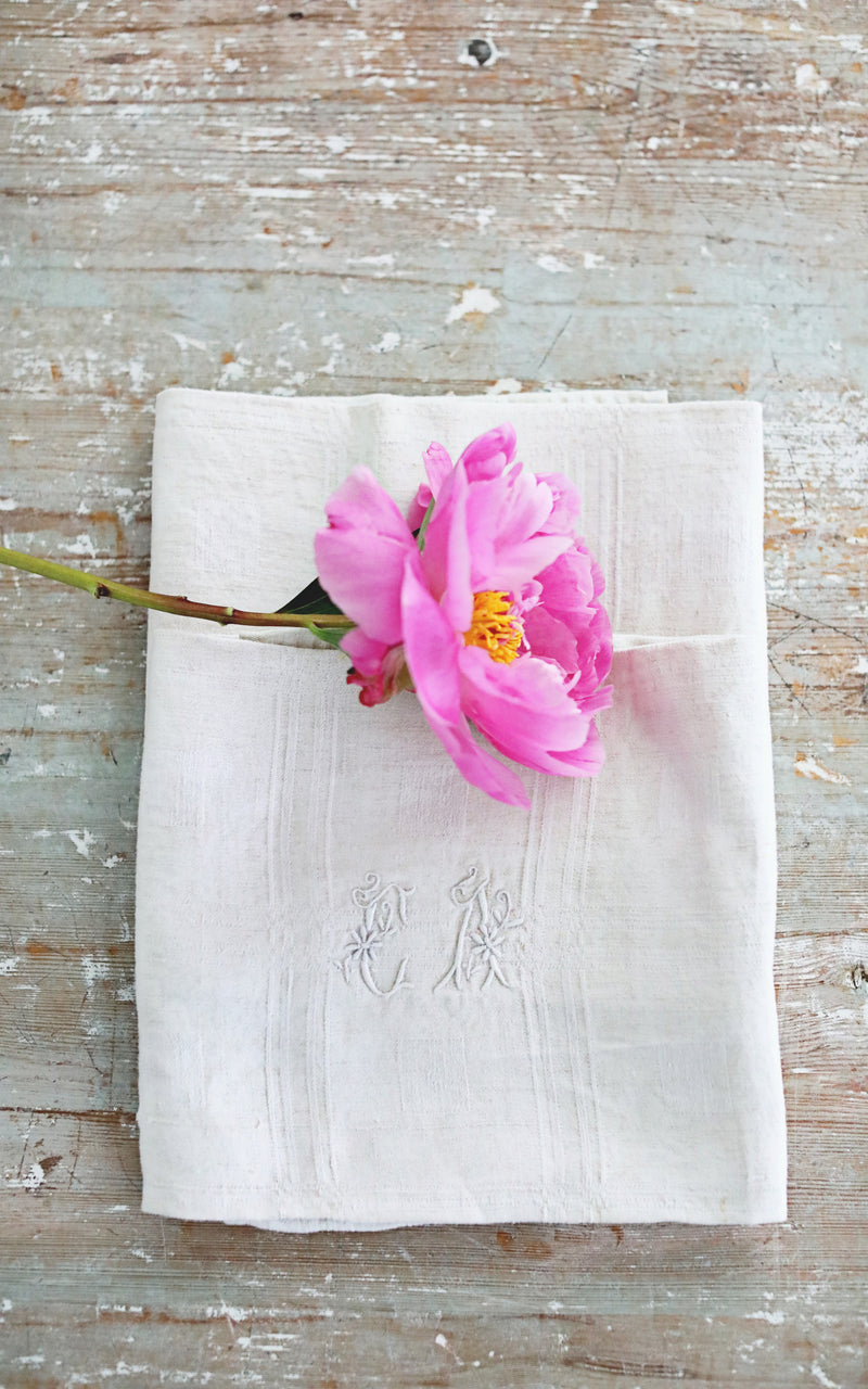 Pair of French Napkins CA Monogram