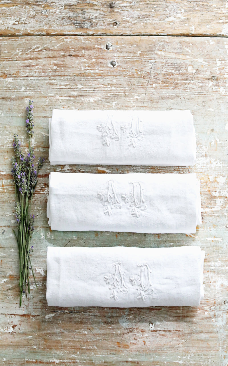 Set of Three Vintage French Monogrammed AD Napkins