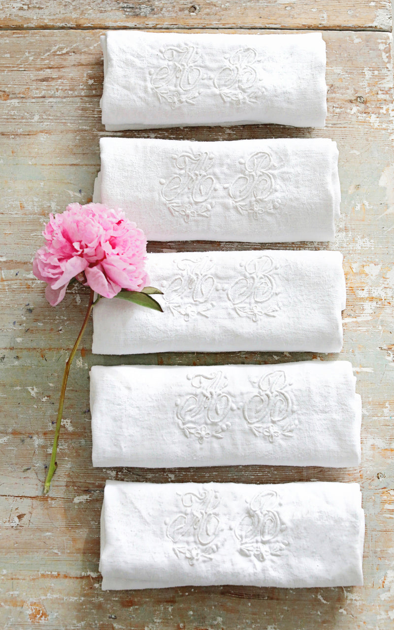 Set of Five Vintage French Monogrammed Napkins AB