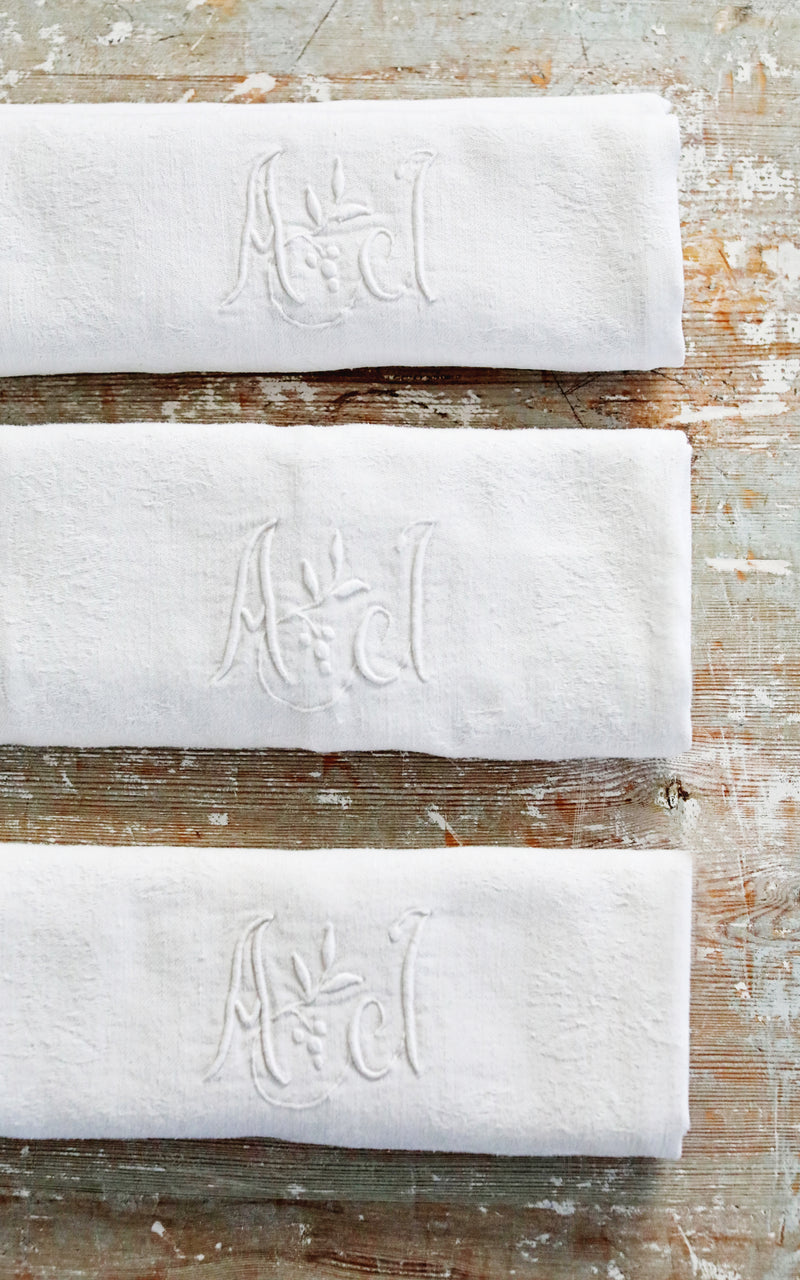 Set of Six Vintage French Monogrammed AJ Napkins