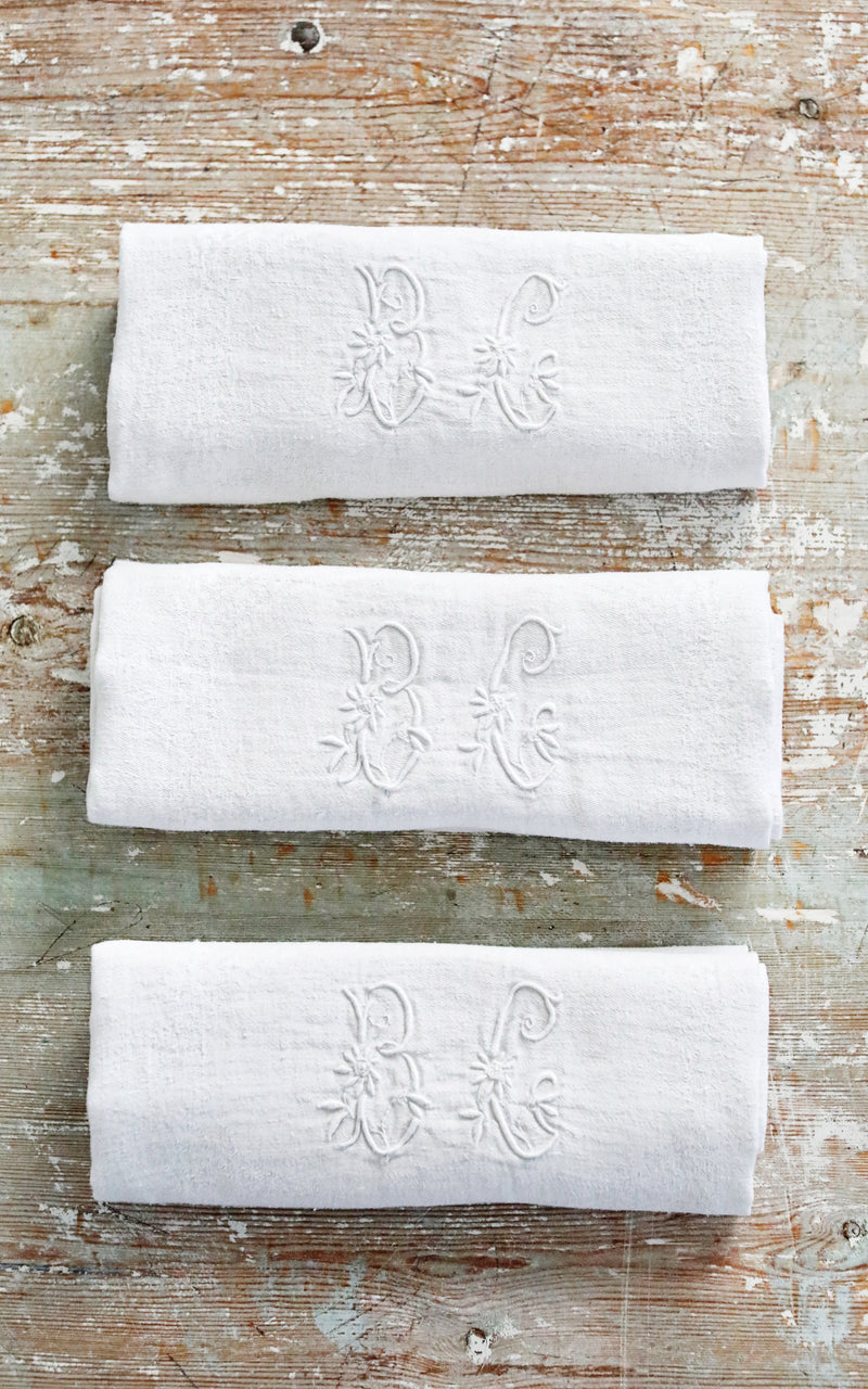 Set of Five Vintage French Monogrammed B C Napkins