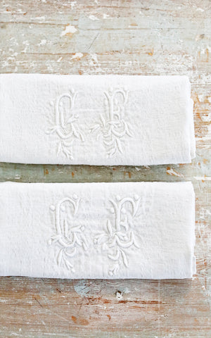 Set of Two Vintage French Monogrammed CE Napkins