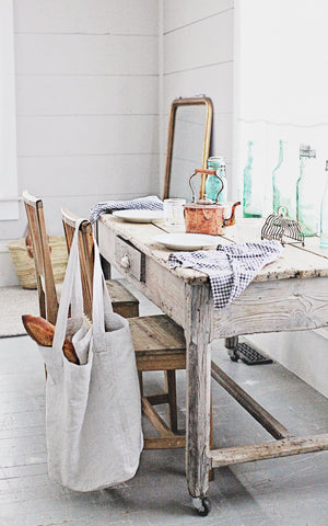 Grey and White Checked Linen Towel