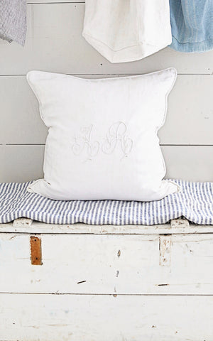 "24"" x 24"" French Linen AR Mongram Pillow Slip"