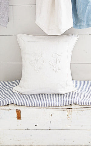 "24"" x 24"" French Linen Monogrammed AT Pillow Slip"