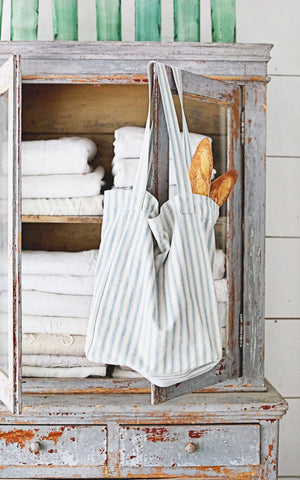 Vintage French Blue and White Ticking Tote