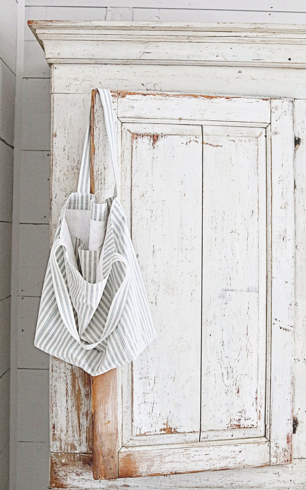 Vintage French Gray Ticking Linen Tote