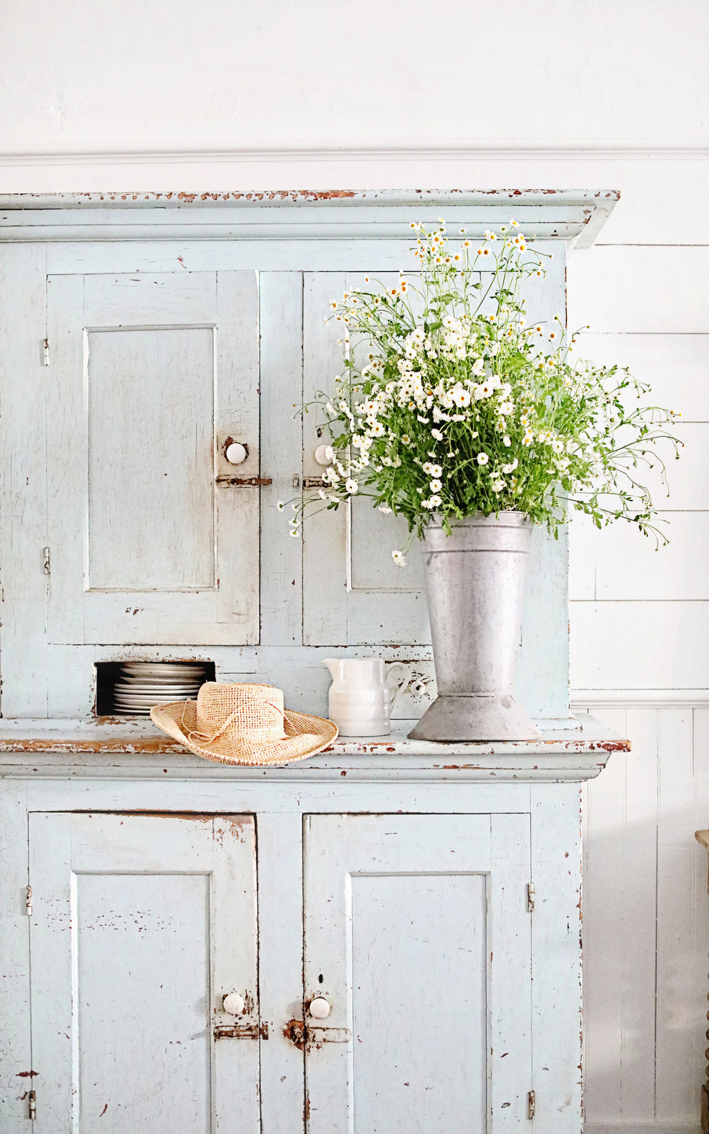 Vintage French Zinc Flower Bucket