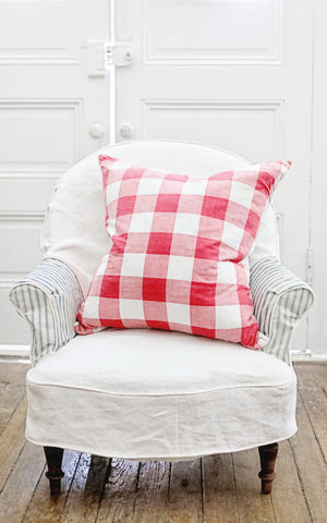 "Vintage French Red and White Checked 24"" x 24"" Pillow Slip"