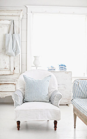 Vintage French Ticking Pillow Slip