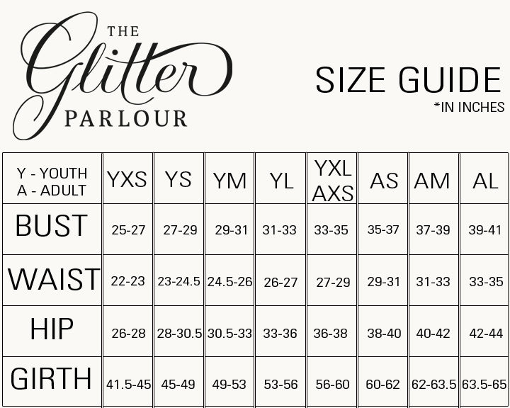 The Glittery Parlour - Size Chart