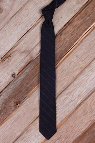 Navy Stripe Wool Necktie