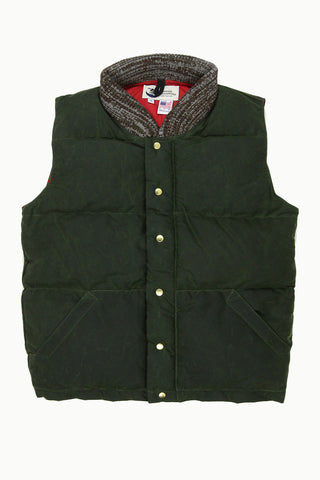 Archival Olive Waxed Down Vest