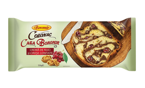 Boromir Cozonak (Brioche) with Walnuts Cream and Cherries