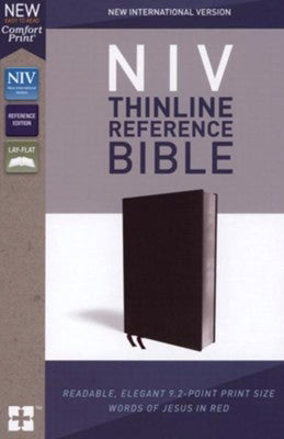 NIV Thinline Reference Bible (Comfort Print)-Black Bonded Leather