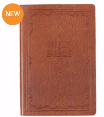 KJV Large Print Thinline Bible-Tan Genuine Leather Indexed