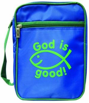 God is good! Bible Cover Medium, Blue and Green