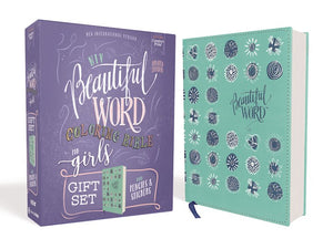 NIV Beautiful Word Coloring Bible For Girls Pencil/Sticker Gift Set (Comfort Print)-Teal LeatherSoft Over Board