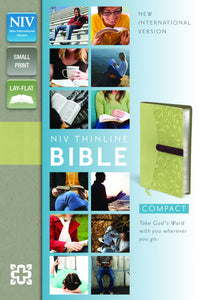 NIV, Thinline Bible, Compact, Imitation Leather, Green/Brown, Red Letter Edition
