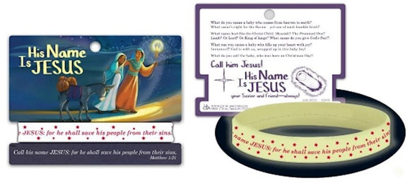 His Name is Jesus bracelet(Glow in the dark silicone with card)