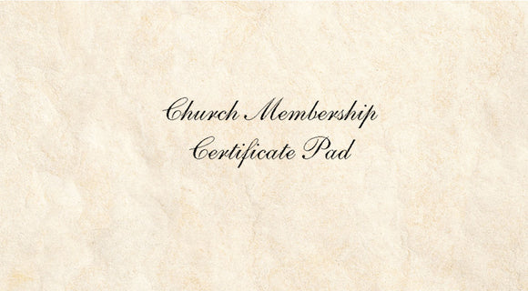 Church Membership Certificate Pad
