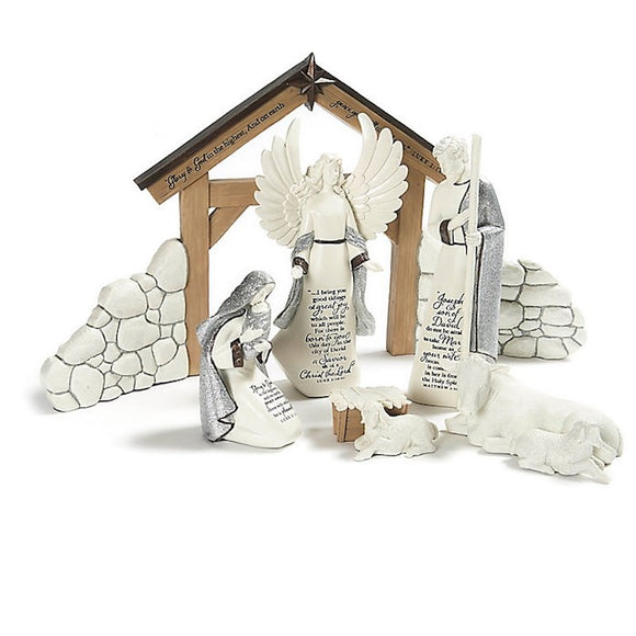 O Holy Night The Nativity Set with Créche, (small fracture on the créche)