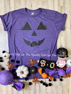 Girl Pumpkin Face Kids Tee
