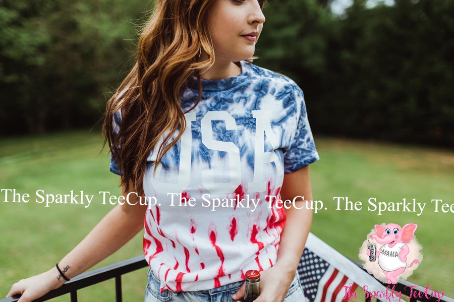 USA Flag Tee (White Ink)