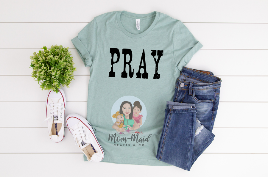 Pray Tee (Heather Prism Dusty Blue)