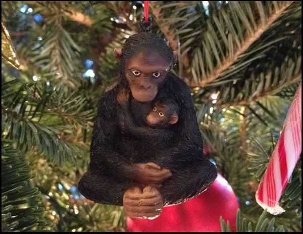 Chimpanzee mother & baby ornament