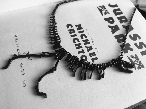 T.rex Dinosaur Skeleton Necklace in Black