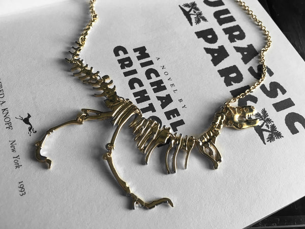 T.rex Dinosaur Skeleton Necklace in Gold