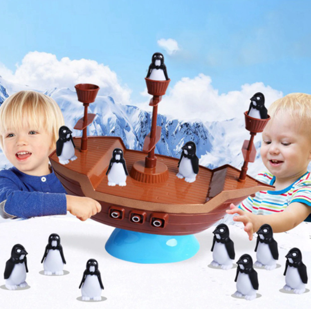 Penguin Balance - Pirate Ship Balancing Desk Toy