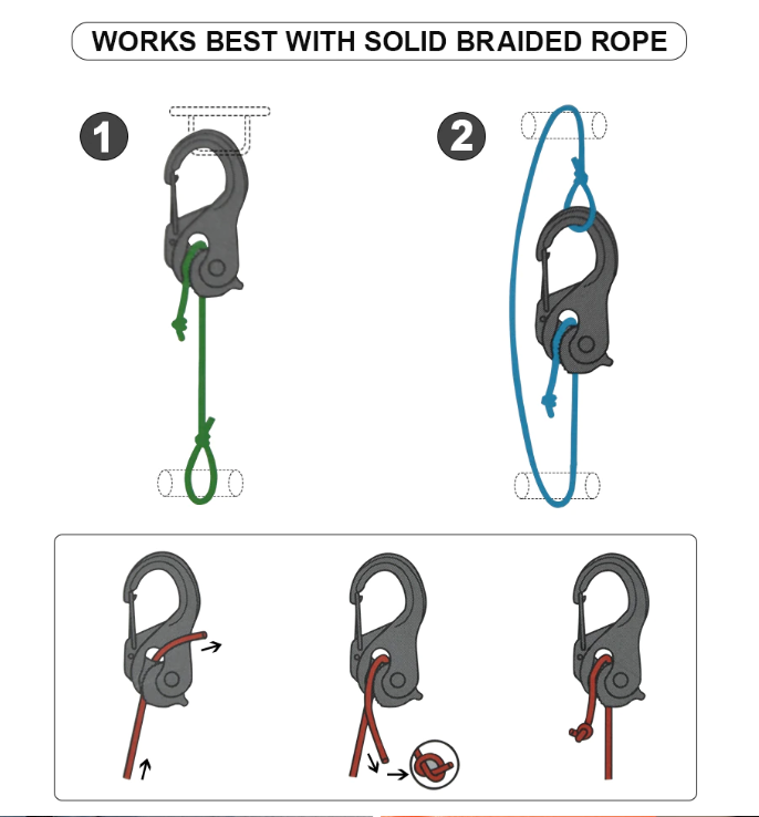 CordTight - Knot-Free Cord Tightening Carabiner (1 Pair With Rope)