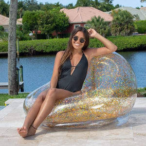 Sparkling Chair - Indoor/Outdoor Confetti Glitter Inflatable Lounger