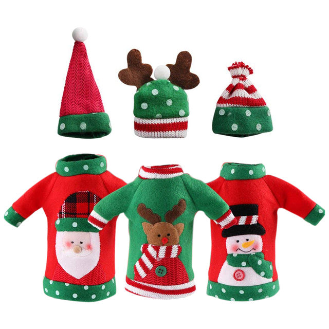 Ugly Sweater Christmas Wine Bottle Cover (3 Sets)