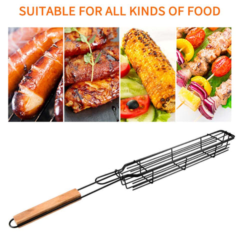 Portable Stainless Steel Fish and Barbecue Grilling Mesh - Kebab Grill Basket