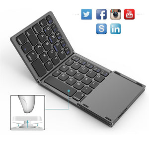 KeyFold - Foldable Wireless Bluetooth Keyboard With Touchpad