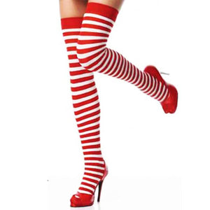 Cute Striped Red - White Stockings