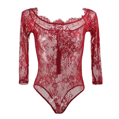 Long Sleeve Lace Red Wine Teddy