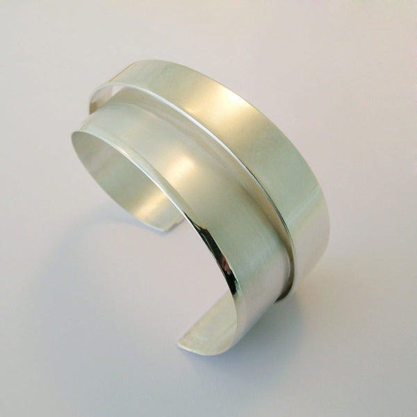 Wide Sterling Silver High Wrap Cuff